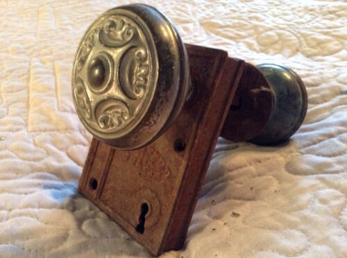 ANTIQUE R & E ORNATE DOOR KNOB AND LOCK SET BRASS