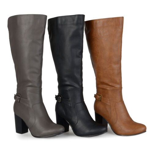 Brinley Co Wide Calf Buckle Detail High Heeled Boots Fashion New