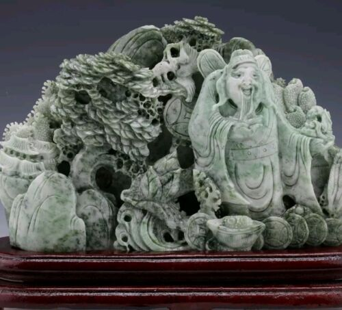100% Natural Dushan Jade Hand-carved   God of wealth& Pine Tree Statue