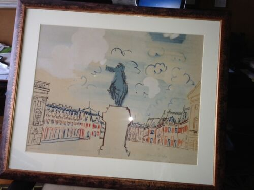 """Raoul Dufy Hand Colored Print of Versailles 24"""" x 18"""", framed 26"""" x 30"""""""