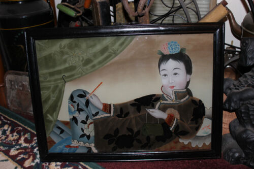 Stunning Asian Reverse Painting On Glass-Woman Lying Down W/Handbag-Colorful