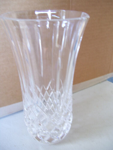 "Vintage Cut Glass Lead Crystal Clear Decorated 7"" Tall Flowers Vase"