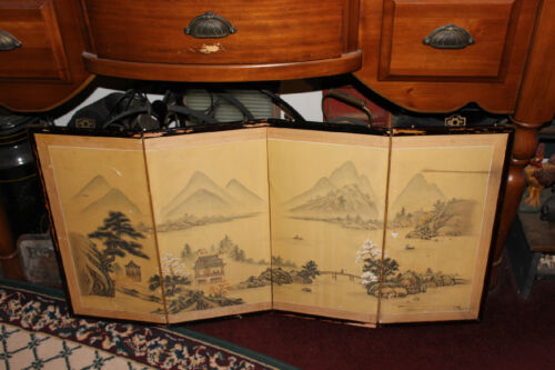 Vintage ChineseJapanese 4 Panel Wall Art Painting On Silk Fabric Mountains Water
