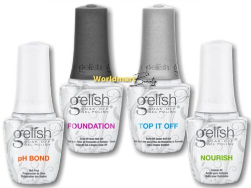 Harmony Gelish Soak Off 15ml/0.5fl.oz Foundation Base, Top Coat, pH Bond, Oil