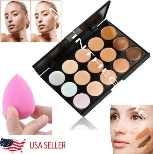 15 Colors Contour Concealer Face Cream Makeup Palette Professional + SPONGE NEW <br/> Free Shipping* Perfect for Traveling Small Compact Size