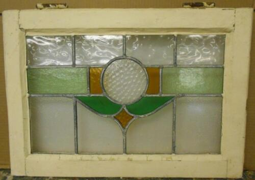 "OLD ENGLISH LEADED STAINED GLASS WINDOW Simple Circular Design 21.25"" x 15"""