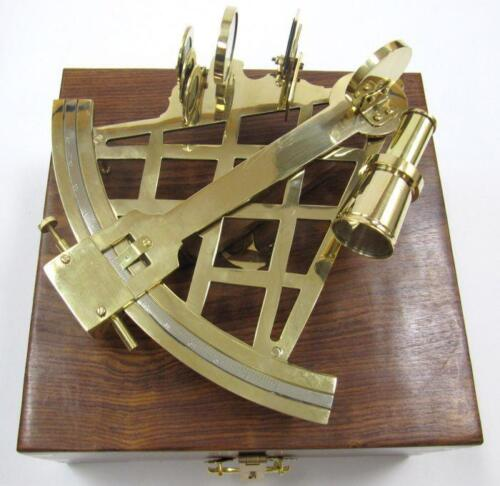 "NAUTICAL Marine Navigation 10"" SOLID BRASS SEXTANT INSTRUMENT with WOOD BOX New"