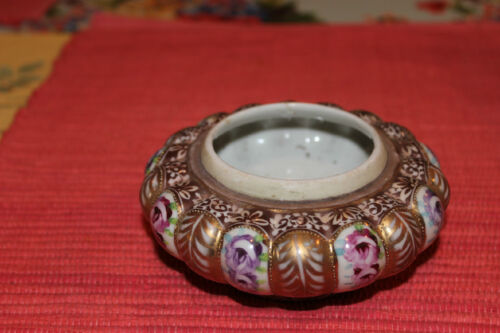 Asian Chinese Japanese Bowl Marked Bottom Gold Painted Flowers Small Size