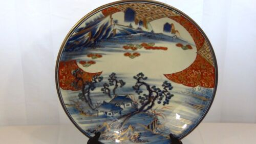 """ANTIQUE JAPANESE IMARY PORCELAIN BLUE&WHITE GILT 18,5""""CHARGER W/MOUNTAINS &RIVER"""