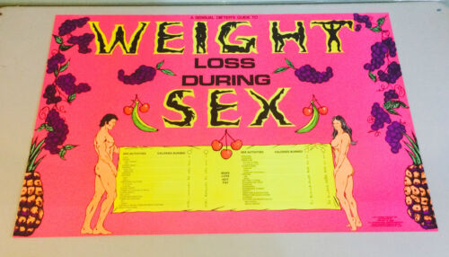 Weight loss during Sex Dieter's Guide vintage poster Black Light Calorie Chart