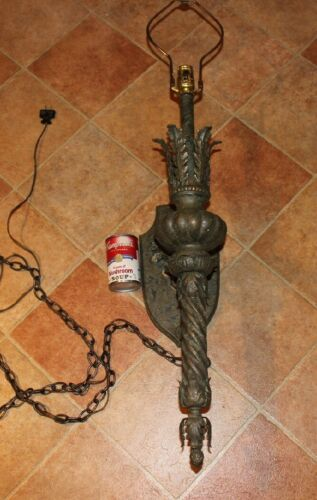 Vintage Medieval Gothic Torch Light Electric Wall Lamp-Metal W/Wood Base-Large