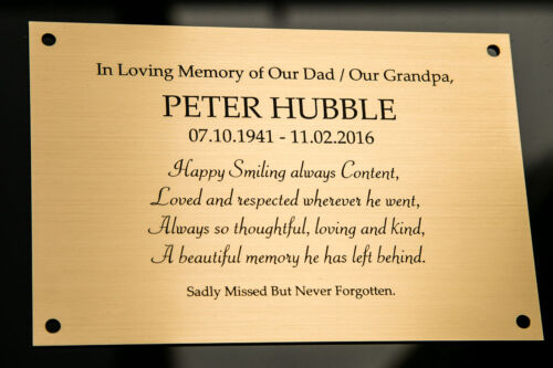 Engraved Memorial Plaque, Bench Plate, in Silver or Brass Effect High Quality <br/> Various Sizes 4 x 2, 4 x 3, 6 x 3, 6 x 4, 6 x 5, 7 x 3