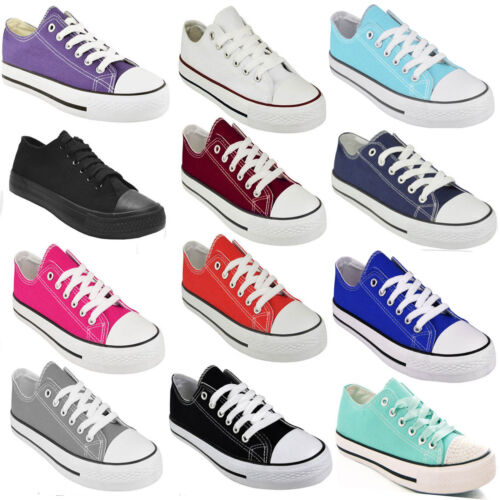 LADIES WOMENS FLAT GIRLS PLIMSOLLS PUMPS TRAINER LACE UP CANVAS SHOES TRAINERS