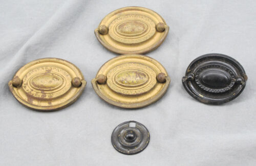 Lot of 4 1920s Reproduction 18th Century Brass Hepplewhite Drawer Pulls w/ Bales