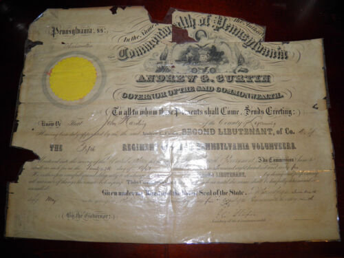 Civil War 5th Penn. Cavalry  Officer Promotion Signed By Gov. Andrew Curtin 1865Documents - 165589