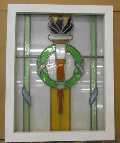"MID SIZED OLD ENGLISH LEADED STAINED GLASS WINDOW Olympic Torch"" 19.5"" x 24.5"""