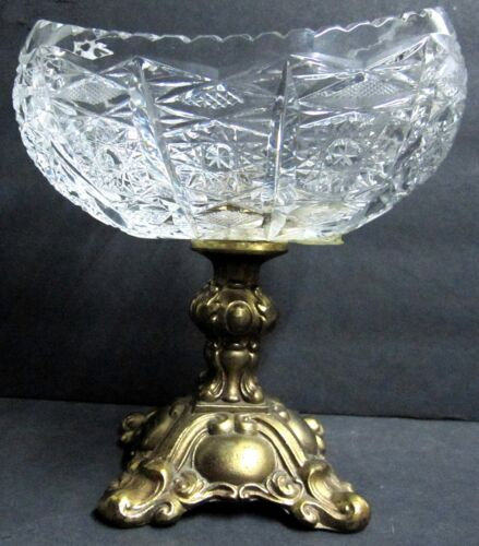 Antique Ornate Footed Bronze & Etched Diamond Crystal Cut Glass Compote Brass