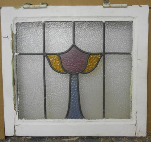 """OLD ENGLISH LEADED STAINED GLASS WINDOW Abstract Floral Design 19.75"""" x 18"""""""