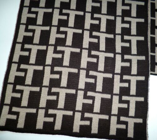 Tommy Hilfiger mens brown beige logo scarf NEW lambswool & acrylic