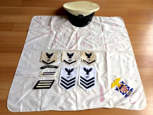 OLD VTG NAVAL NAVY USS DETROIT HAT RANK INSIGNIA PATCH SIGNED SCARF LOT OF 10Navy - 66533