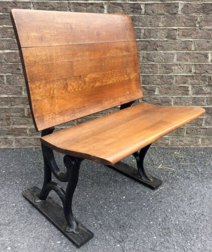 Antique Vintage Wrought Iron & Wood Student School Desk Chair Fold Down Seat
