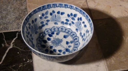 ANTIQUE EARLY 20C  CHINESE POCELAIN BLUE AND WHITE  BOWL FLORAL DESIGN