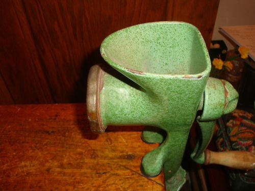 Antique Meat Grinder Harper Green Enamel