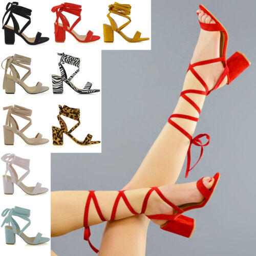 Womens Lace Up Block Mid Heel Ankle Tie Wrap Lace Up Strappy Sandal Shoes Size
