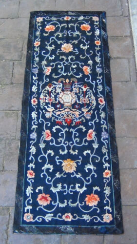 ANTIQUE CHINESE SILK FORBIDDEN STICH EMBROIDERY PANEL W/FLOWERS AND BETS