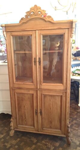 Antique European Austrian Pine Cupboard w/ Glass Doors Two Locking Areas 1880's
