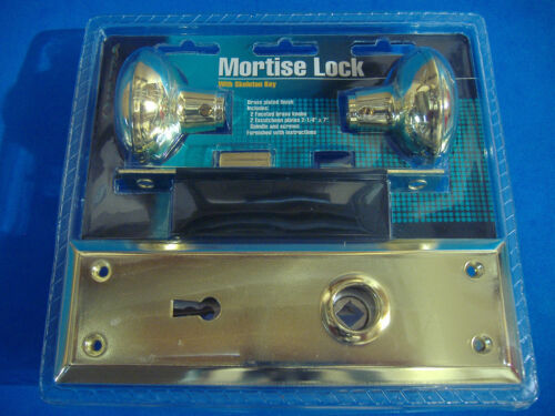 MORTISE LOCK WITH BRASS FINISH DOOR KNOBS BRASS VINTAGE STYLE SKELETON KEY