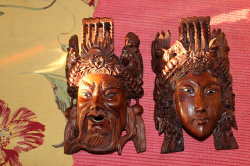 Vintage Chinese Wood Carved Opera Masks Pair Highly Detailed Man Woman