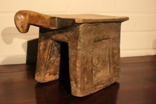 MALI old wooden african stool BAMBARA ancien tabouret d'afrique afrika africa