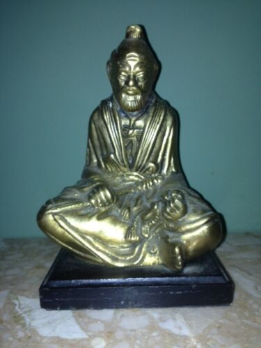 Vintage Bronze Buddha on the wooden base - 8 inches tall