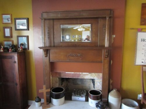 Antique Red Oak Fireplace Mantel with Beveled Mirror #2006