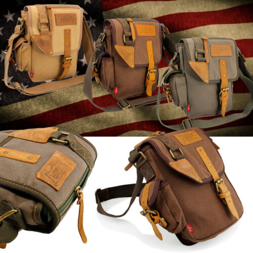 US Men's Vintage Canvas Leather Messenger Shoulder Bag Military Travel Satchel