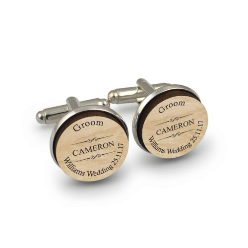 Personalised engraved mens wooden shirt cufflinks gift special day with gift Bag