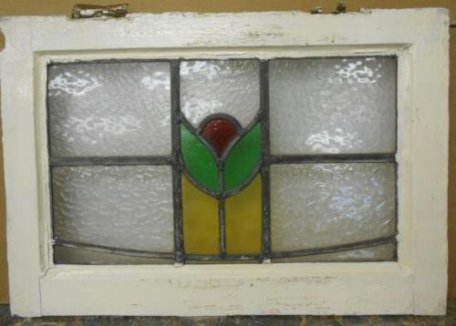 """OLD ENGLISH LEADED STAINED GLASS WINDOW Simple Floral 20.25"""" x 14"""""""