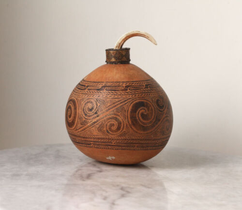 Scarce TROBRIAND islands gourd lime container with pig tusk