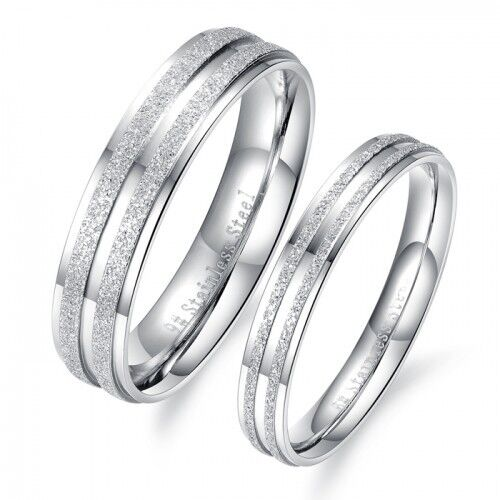 18K Gold GP Simple Classic Couple Rings White