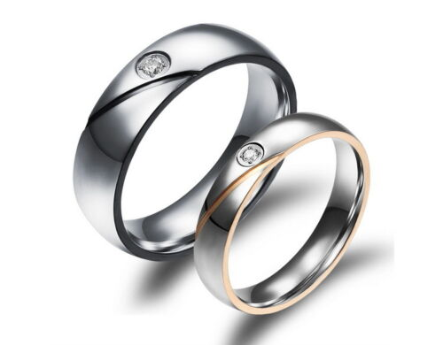 18K Gold GP Simple Classic Couple Rings White gb0615459