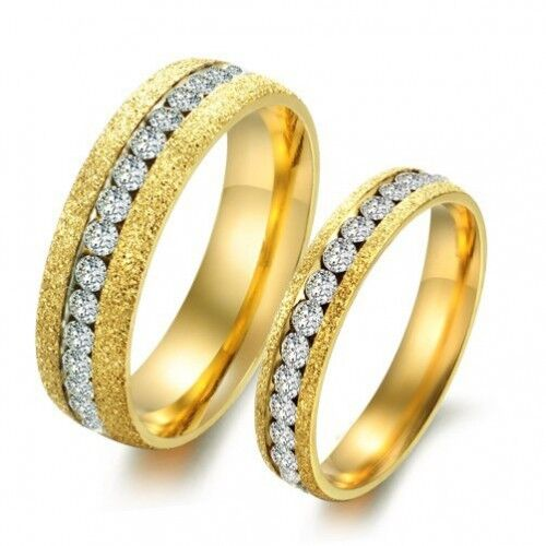 18K Gold GP Simple Classic Couple Rings White gr2014362