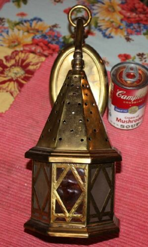 Vintage Middle Eastern Style Wall Mounted Light Fixture Glass Panels Brass Tin