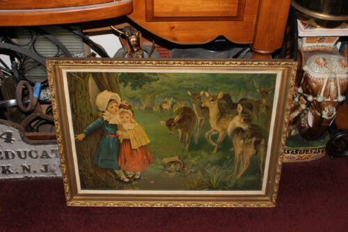 Antique Chomolithograph Victorian Print-Girls Scared By Deers-Gilded Wood Frame