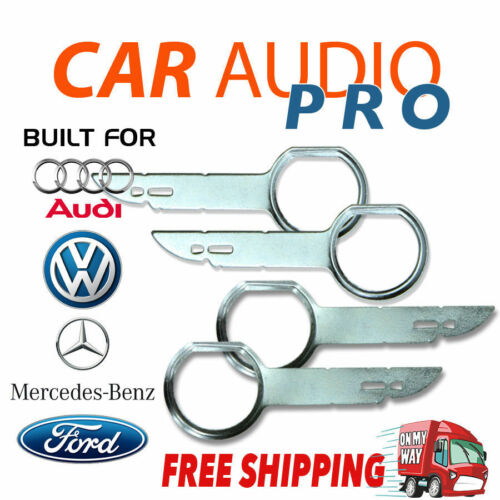 4 x RADIO REMOVAL TOOLS for AUDI MERCEDES VOLKWAGEN VW FORD car stereo radio key
