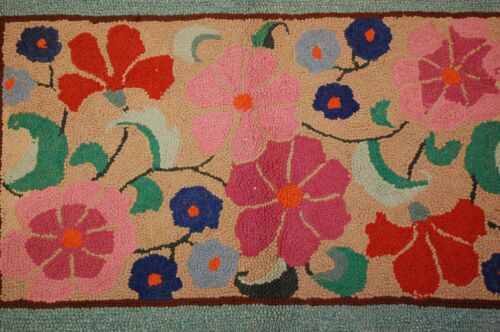 c1930's COLORFUL ANTIQUE AERICAN HOOKED RUG 1.11x3 WOOL HOOKED ON JUTE