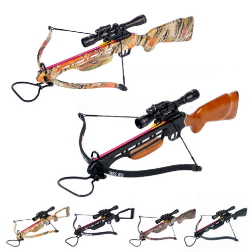 150 lb Black / Wood / Camo Hunting Crossbow Bow +4x20 Scope +7 Arrows 180 80 50Crossbows - 33972