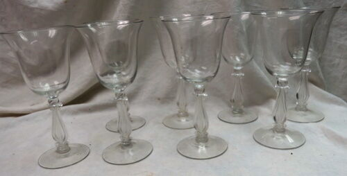RARE (8) elegant Cambridge Glass / Regency Stradivari Lyre ~ Harp Goblets 8""