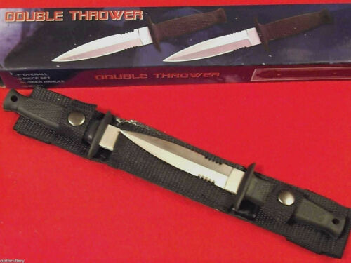 """Double Thrower 210233 Black Rubber handle 2 pc dagger belt knives 7"""" overall NEW"""