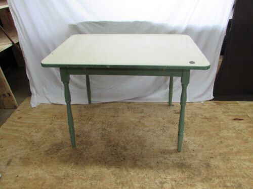 Vintage Shabby Chic Enamel/Porcelain Top Wooden Table #S113